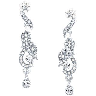 Sikka Jewels Fashionable Rhodium Plated Australian Diamond Earring