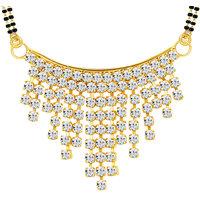 Sikka Jewels Delightful Gold Plated Australian Diamond Mangalsutra Pendant