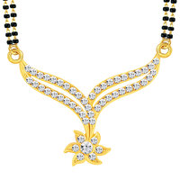 Sikka Jewels Black  Gold Alloy Gold Plated Austrian Diamond Mangalsutra For Women