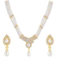 Sikka Jewels Ethnic Gold Plated Australian Diamond Necklace Set