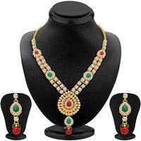Sikka Jewels Royal Gold Plated Australian Diamond Necklace Set