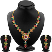 Sikka Jewels Shimmering Gold Plated Australian Diamond Necklace Set