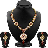 Sikka Jewels Designer Gold Plated Australian Diamond Necklace Set