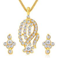 Sikka Jewels Classy Gold Plated Australian Diamond Pendant Set