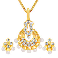 Sikka Jewels Delightful Gold Plated Australian Diamond Pendant Set