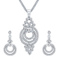 Sikka Jewels Amazing Rhodium Plated Australian Diamond Pendant Set
