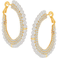Sikka Jewels Glorius Gold Plated Australian Diamond Earring