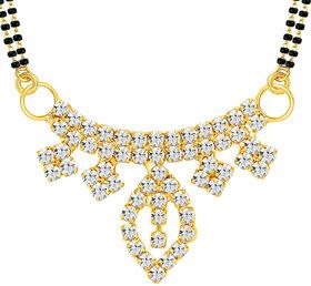 Sikka Jewels Moddish Gold Plated Australian Diamond Mangalsutra Pendant