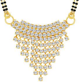 Sikka Jewels Glimmery Gold Plated Australian Diamond Mangalsutra Pendant