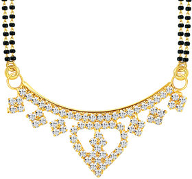 Sikka Jewels Fascinating Gold Plated Australian Diamond Mangalsutra Pendant