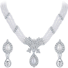 Sikka Jewels Blossomy Rhodium Plated Australian Diamond Necklace Set