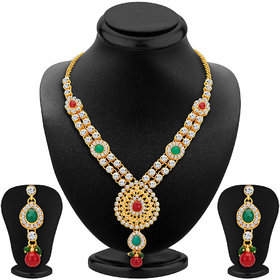 Sikka Jewels Royal Gold Plated Australian Diamond Necklace Set