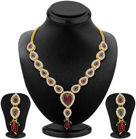 Sikka Jewels Marquise Gold Plated Australian Diamond Necklace Set