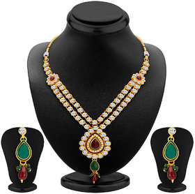Sikka RedGreen Alloy Gold Plated Necklace Set For Women