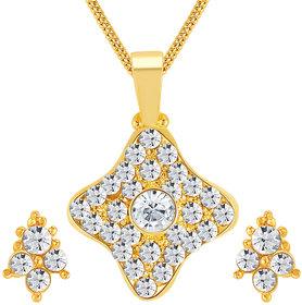 Sikka Jewels Graceful Gold Plated Australian Diamond Pendant Set