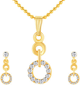 Sikka Jewels Ritzzy Gold Plated Australian Diamond Pendant Set