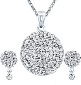 Sikka Jewels Marvelous Rhodium Plated Australian Diamond Pendant Set