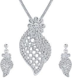 Sikka Jewels Stunning Rhodium Plated Australian Diamond Pendant Set