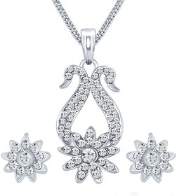 Sikka Jewels Dazzling Rhodium Plated Australian Diamond Pendant Set