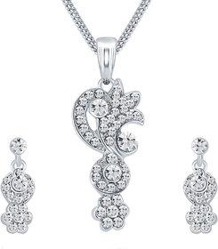 Sikka Jewels Excellent Rhodium Plated Australian Diamond Pendant Set