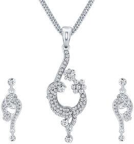 Sikka Jewels Angelic Rhodium Plated Australian Diamond Pendant Set