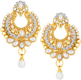 Sikka Jewels Enchanting Gold Plated Australian Diamond Earring