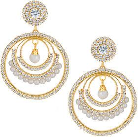 Sikka Jewels Sublime Gold Plated Australian Diamond Earring
