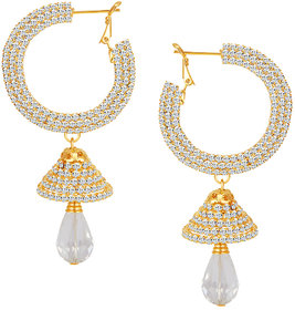 Sikka Jewels Glittery Gold Plated Australian Diamond Earring