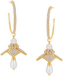 Sikka Jewels Trendy Gold Plated Australian Diamond Earring
