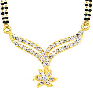 Sikka Jewels Gold Plated Black & Gold Alloy Only Mangalsutra for Women