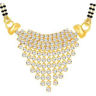 Sikka Jewels Gold Traditional/Ethnic American Diamond Alloy Gold Plated Only Mangalsutra