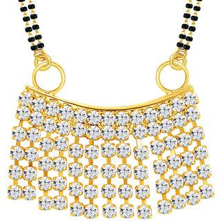 Sikka Jewels Sublime Gold Plated Australian Diamond Mangalsutra Pendant