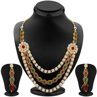 Sikka Jewels Splendid Gold Plated Australian Diamond Necklace Set
