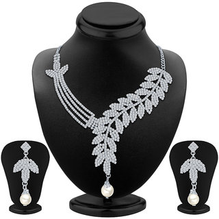 Sikka Silver Alloy Silver Plated Necklace Set For Women
