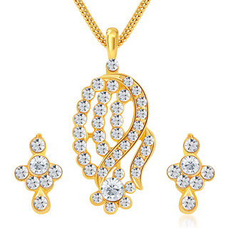 Sikka Jewels Classy Gold Plated Australian Diamond Pendant Set