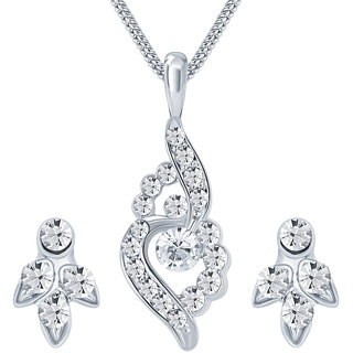 Sikka Jewels White Alloy Silver Plated Australian Diamond Traditional/Ethnic Casual Pendant With Chain  Earrings