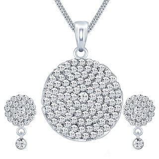 Sikka Jewels Marvelous Rhodium Plated Australian Diamond Pendant Set