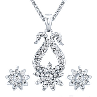 Sikka Jewels Dazzling Rhodium Plated Australian Diamond Pendant Set