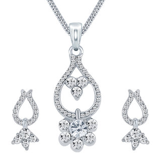 Sikka Jewels Glamorous Rhodium Plated Australian Diamond Pendant Set