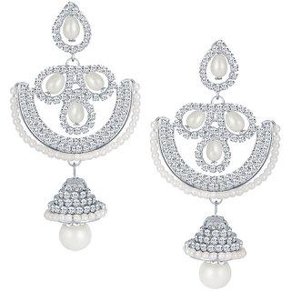 Sikka Jewels Beguilling Rhodium Plated Australian Diamond Earring