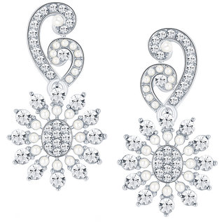 Sikka Jewels Classy Rhodium Plated Australian Diamond Earring