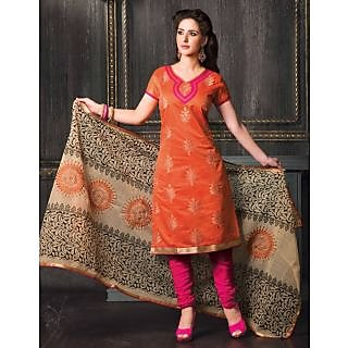Riti Riwaz Orange Designer  Dress Material With Dupatta DLY2013