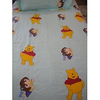 Pooh And Dora Hand Painted 100% Cotton Single Bedsheet (with Pillow Cover)