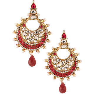 Kriaa Exclusive Kundan Earrings In Pink - 1303737