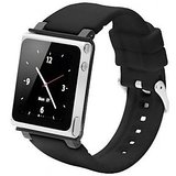 IWatchz Q Collection BLACK Silicone Wrist Band For Apple IPod Nano 6G 6 Th Gen