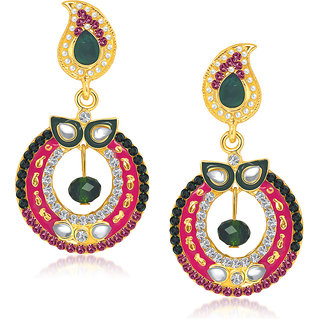 Kriaa Marvelous Green & Pink Meenakari Earrings  -  1104613
