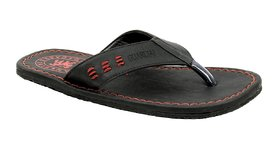 Mens Black  Red Slippers