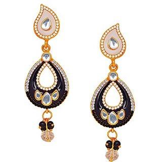 Kriaa Marvelous White  Black Meenakari Earrings - 1104630