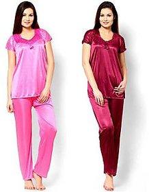 Klick2Style Maroon and Pink Satin Plain Pyajama Set Combo of 2