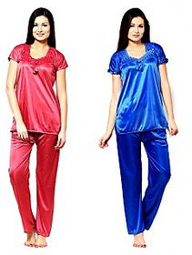Klick2Style Blue and Peach Satin Plain Pyajama Set Combo of 2